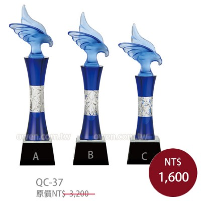 QC37水晶琉璃獎牌 老鷹